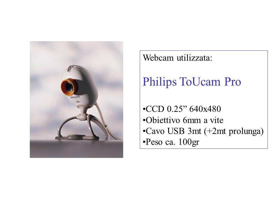 Webcam utilizzata: Philips ToUcam Pro CCD 0.25 640x480 Obiettivo 6mm a vite Cavo USB 3mt (+2mt prolunga) Peso ca.