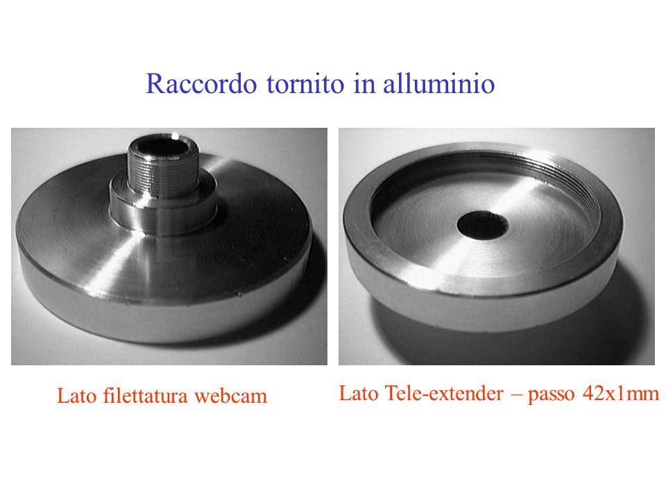 Raccordo tornito in alluminio Lato filettatura webcam Lato Tele-extender – passo 42x1mm