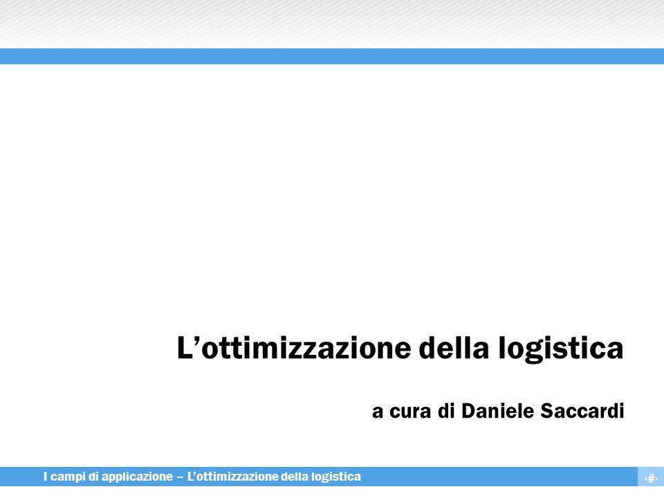 1 I campi di applicazione – L'ottimizzazione della logistica L'ottimizzazione della logistica a cura di Daniele Saccardi