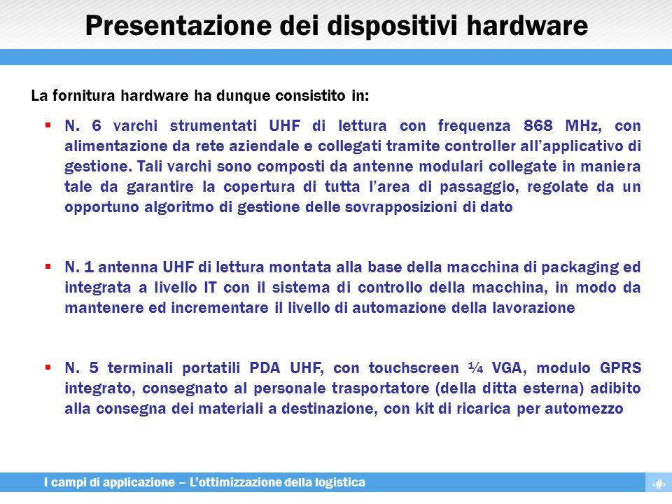 16 I campi di applicazione – L'ottimizzazione della logistica Presentazione dei dispositivi hardware La fornitura hardware ha dunque consistito in: 