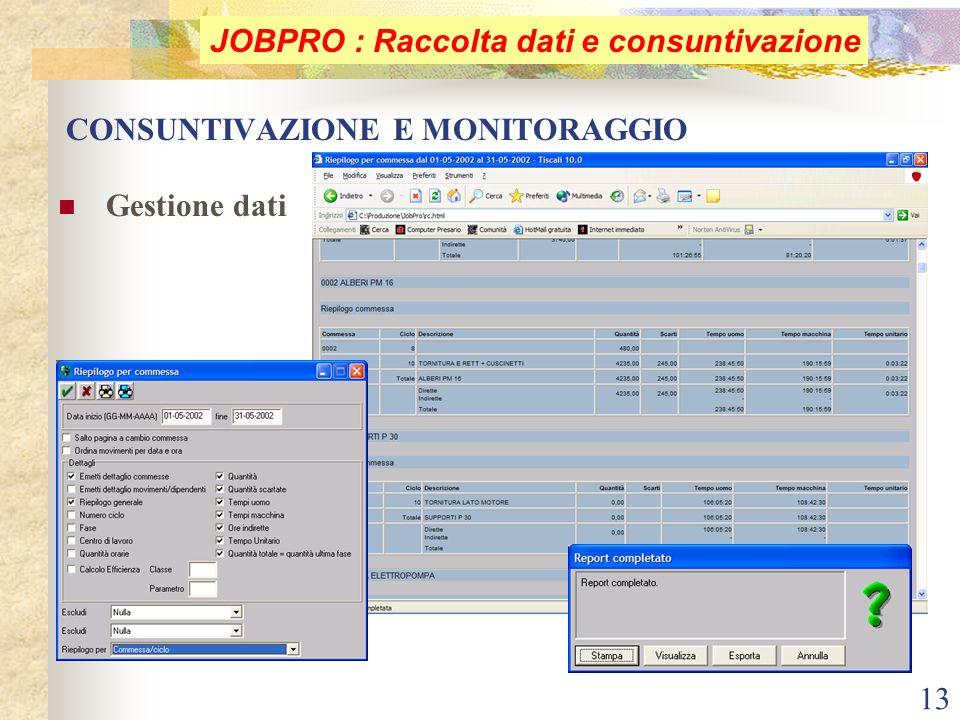 13 CONSUNTIVAZIONE E MONITORAGGIO Gestione dati JOBPRO : Raccolta dati e consuntivazione