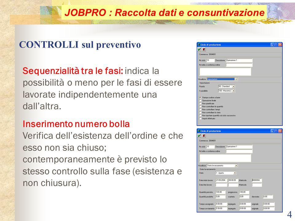 4 CONTROLLI sul preventivo JOBPRO : Raccolta dati e consuntivazione Sequenzialità tra le fasi: indica la possibilità o meno per le fasi di essere lavo