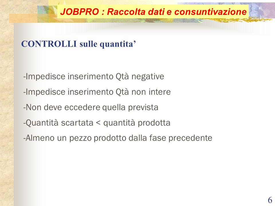 6 CONTROLLI sulle quantita' JOBPRO : Raccolta dati e consuntivazione -Impedisce inserimento Qtà negative -Impedisce inserimento Qtà non intere -Non de