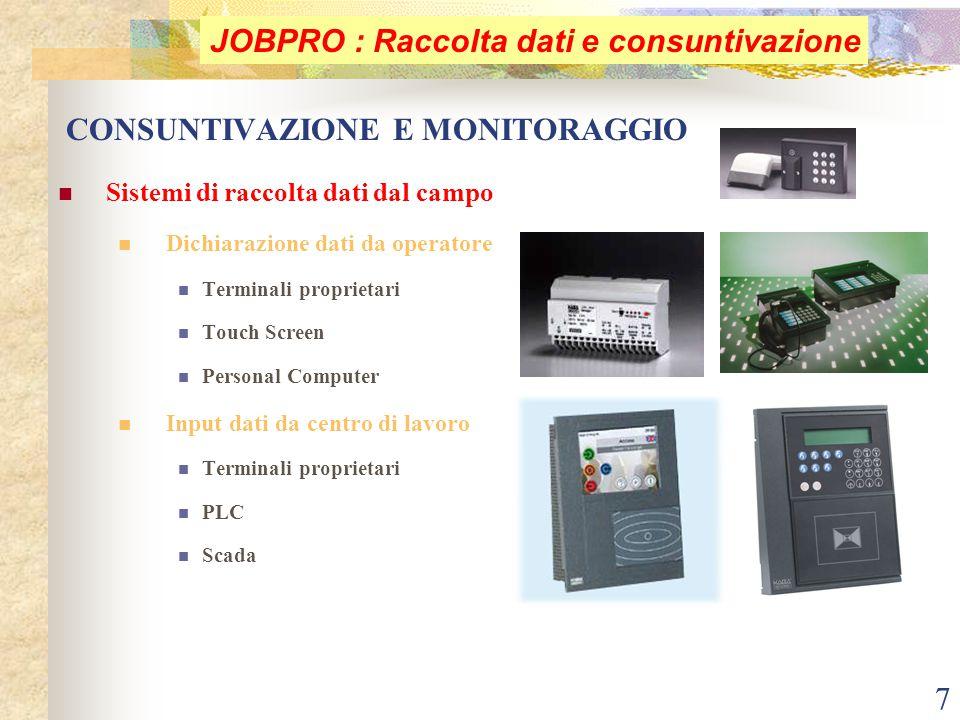 7 CONSUNTIVAZIONE E MONITORAGGIO Sistemi di raccolta dati dal campo Dichiarazione dati da operatore Terminali proprietari Touch Screen Personal Comput