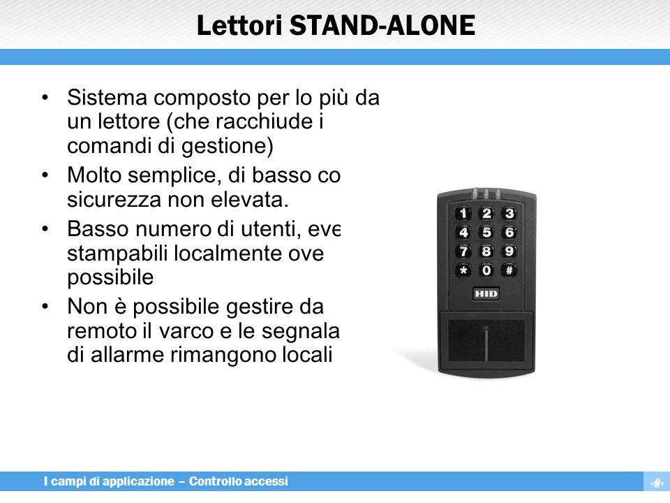 10 I campi di applicazione – Controllo accessi Lettori STAND-ALONE Sistema composto per lo più da un lettore (che racchiude i comandi di gestione) Mol