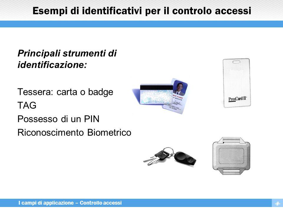 13 I campi di applicazione – Controllo accessi Esempi di identificativi per il controlo accessi Principali strumenti di identificazione: Tessera: cart