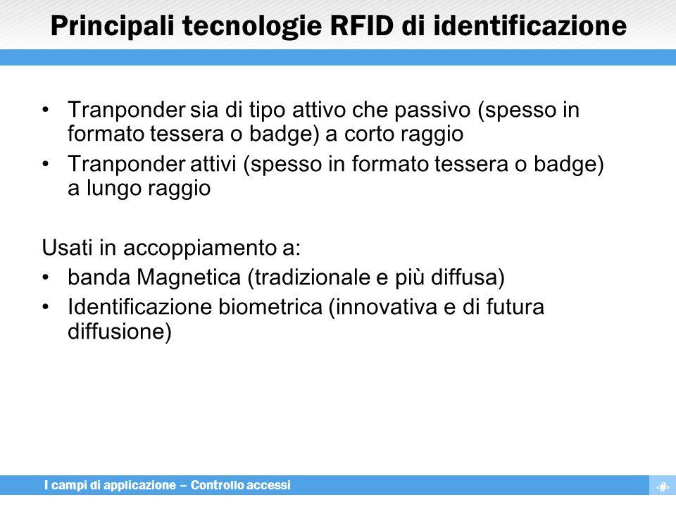 17 I campi di applicazione – Controllo accessi Principali tecnologie RFID di identificazione Tranponder sia di tipo attivo che passivo (spesso in form