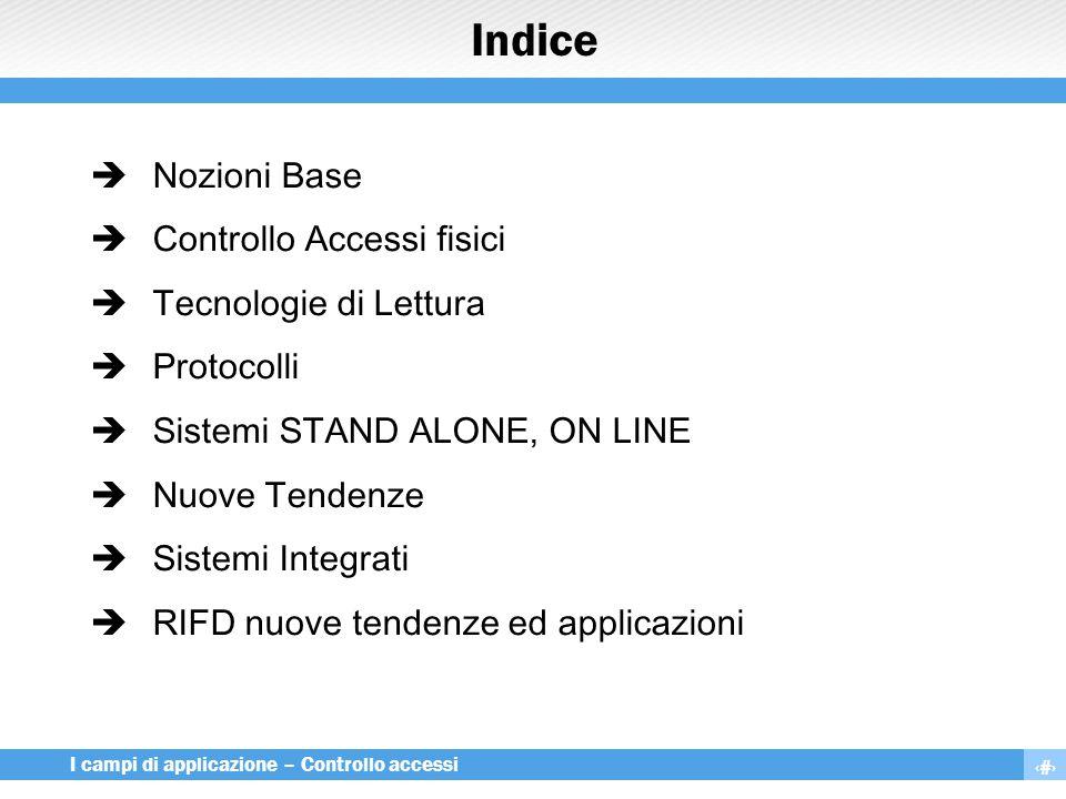2 I campi di applicazione – Controllo accessi Indice  Nozioni Base  Controllo Accessi fisici  Tecnologie di Lettura  Protocolli  Sistemi STAND AL