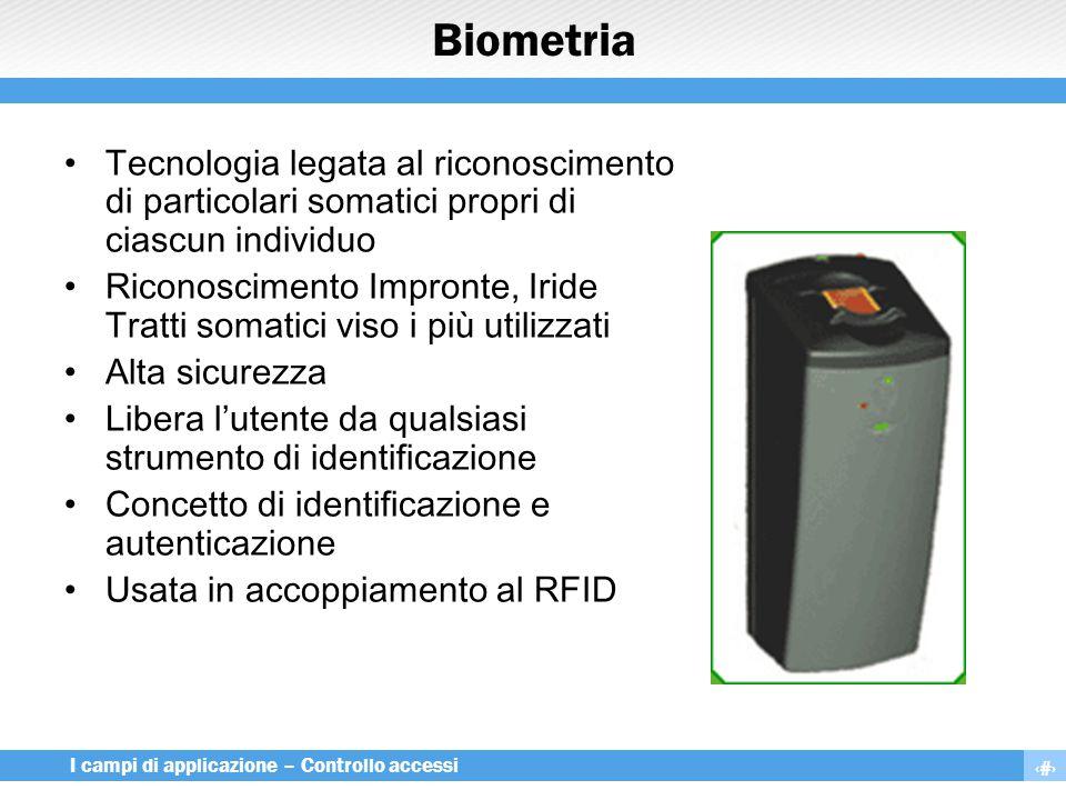 23 I campi di applicazione – Controllo accessi Biometria Tecnologia legata al riconoscimento di particolari somatici propri di ciascun individuo Ricon