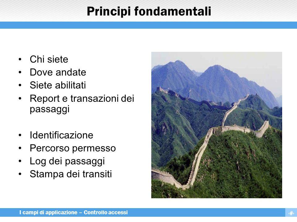 4 I campi di applicazione – Controllo accessi Principi fondamentali Chi siete Dove andate Siete abilitati Report e transazioni dei passaggi Identifica