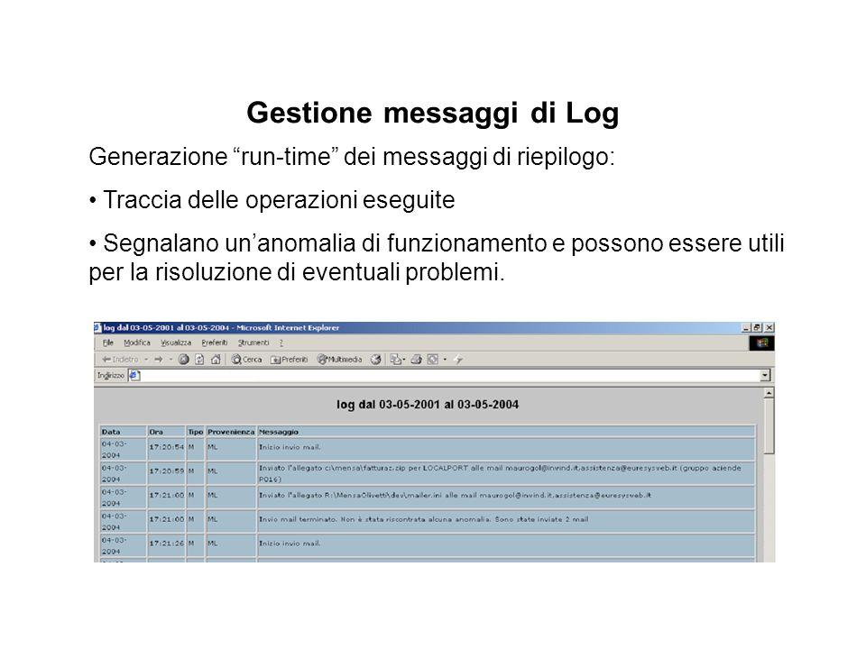 Gestione messaggi di Log Generazione run-time dei messaggi di riepilogo: Traccia delle operazioni eseguite Segnalano un'anomalia di funzionamento e possono essere utili per la risoluzione di eventuali problemi.