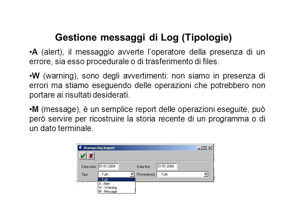Gestione messaggi di Log (Tipologie) A (alert), il messaggio avverte l'operatore della presenza di un errore, sia esso procedurale o di trasferimento di files.