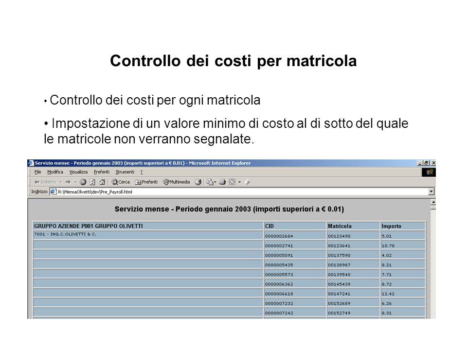 Controllo dei costi per matricola Controllo dei costi per ogni matricola Impostazione di un valore minimo di costo al di sotto del quale le matricole non verranno segnalate.