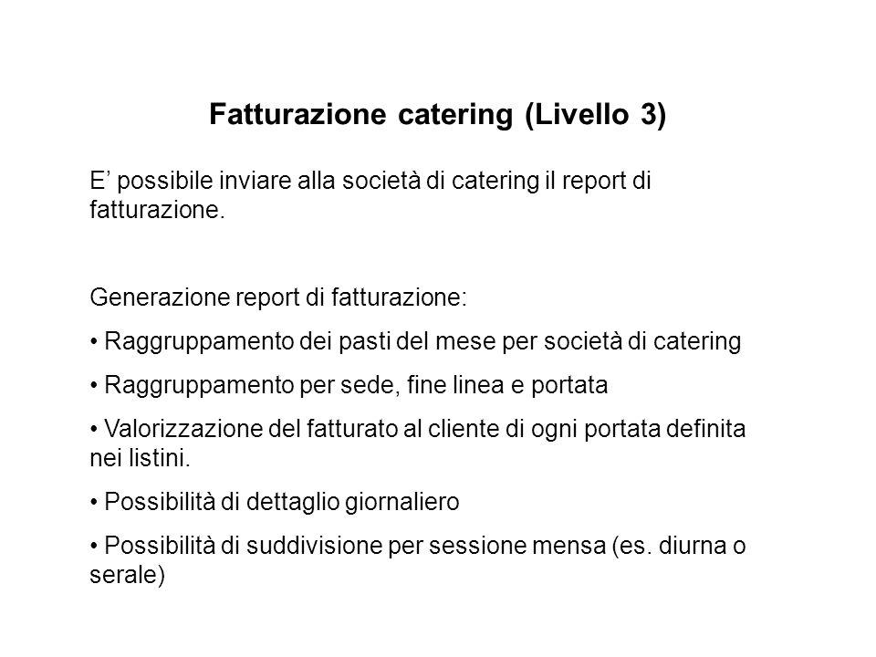 Fatturazione catering (Livello 3) E' possibile inviare alla società di catering il report di fatturazione.