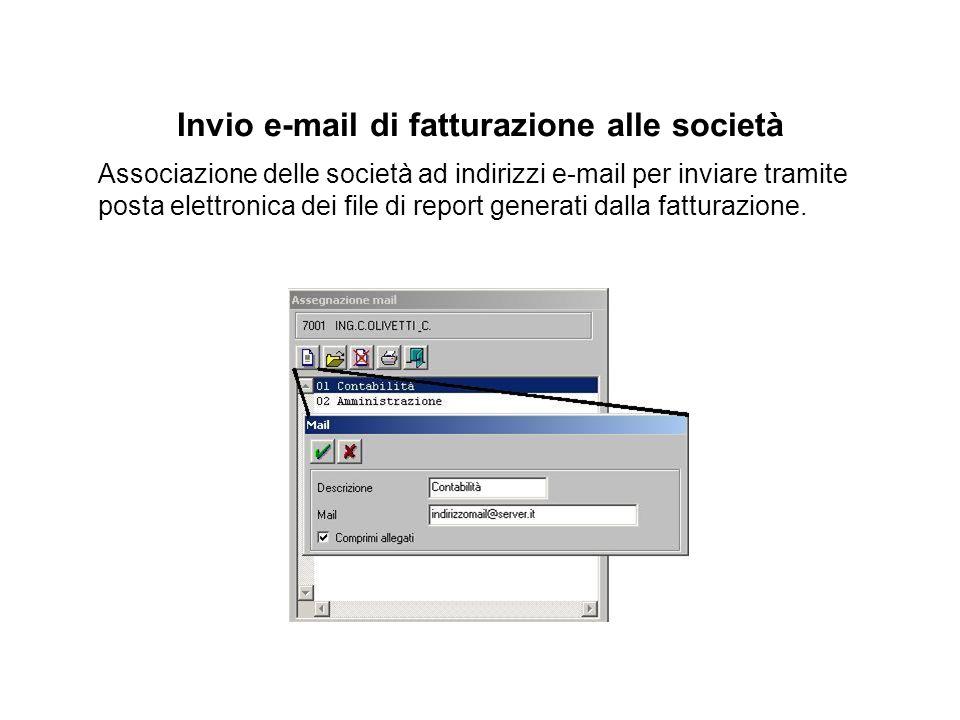 Invio e-mail di fatturazione alle società Associazione delle società ad indirizzi e-mail per inviare tramite posta elettronica dei file di report generati dalla fatturazione.