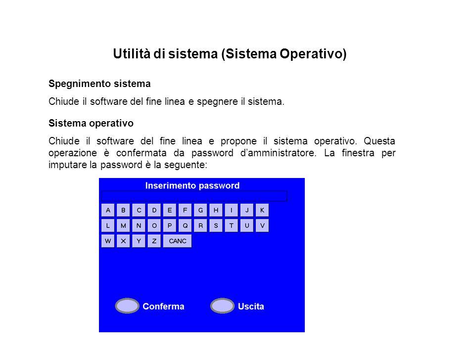 Utilità di sistema (Sistema Operativo) Spegnimento sistema Chiude il software del fine linea e spegnere il sistema. Sistema operativo Chiude il softwa