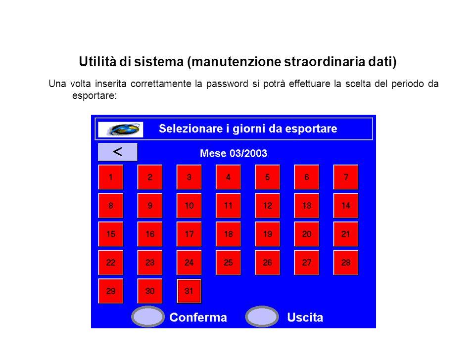 Utilità di sistema (manutenzione straordinaria dati) Una volta inserita correttamente la password si potrà effettuare la scelta del periodo da esporta