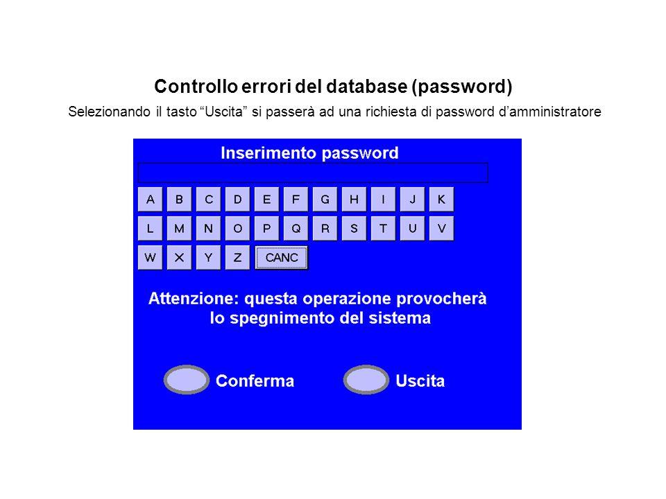 """Controllo errori del database (password) Selezionando il tasto """"Uscita"""" si passerà ad una richiesta di password d'amministratore"""