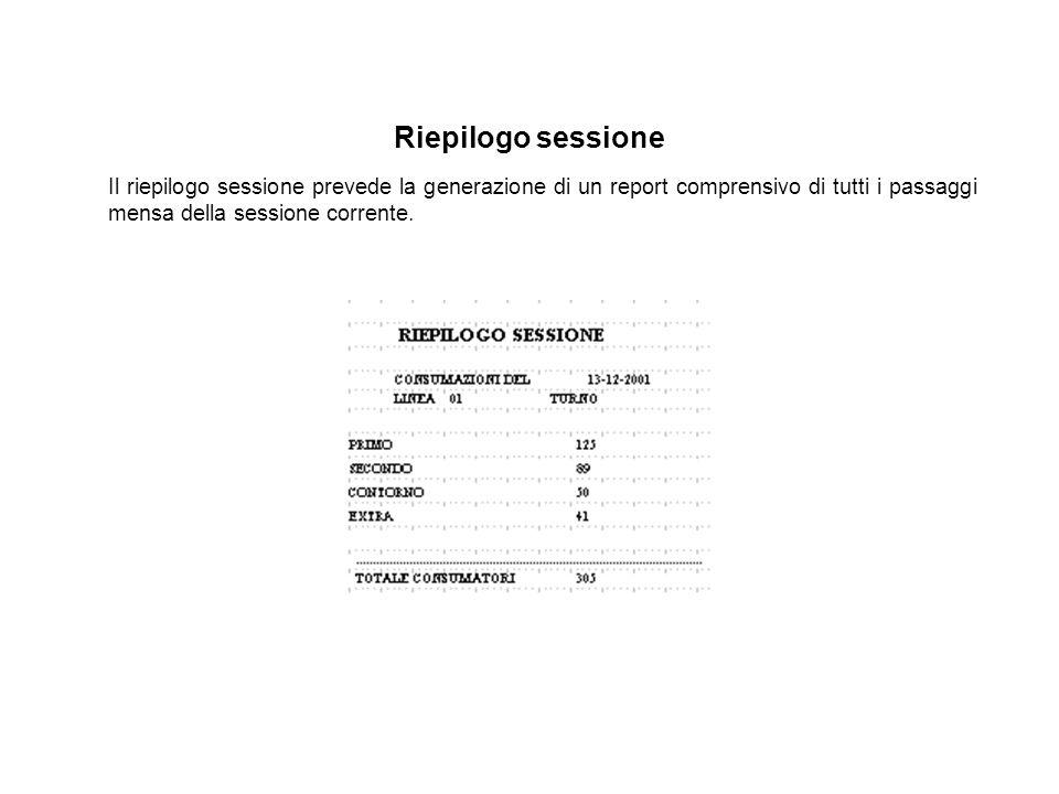 Riepilogo sessione Il riepilogo sessione prevede la generazione di un report comprensivo di tutti i passaggi mensa della sessione corrente.