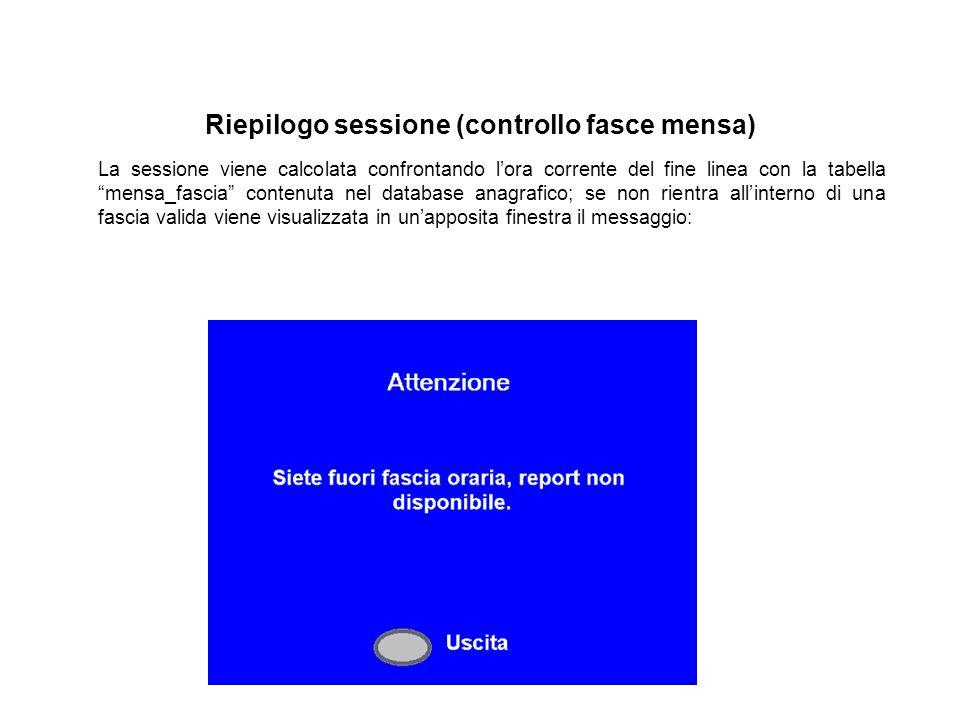 """Riepilogo sessione (controllo fasce mensa) La sessione viene calcolata confrontando l'ora corrente del fine linea con la tabella """"mensa_fascia"""" conten"""