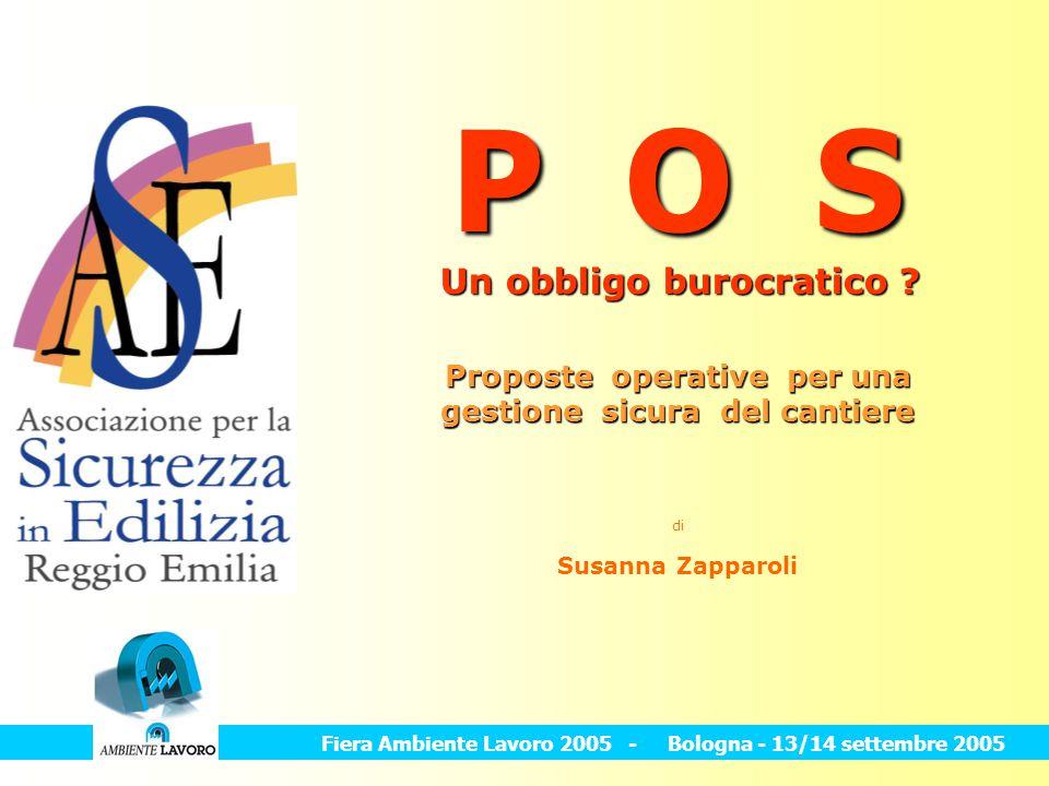 Proposte operative per una gestione sicura del cantiere di Susanna Zapparoli P O S Fiera Ambiente Lavoro 2005 - Bologna - 13/14 settembre 2005 Un obbl