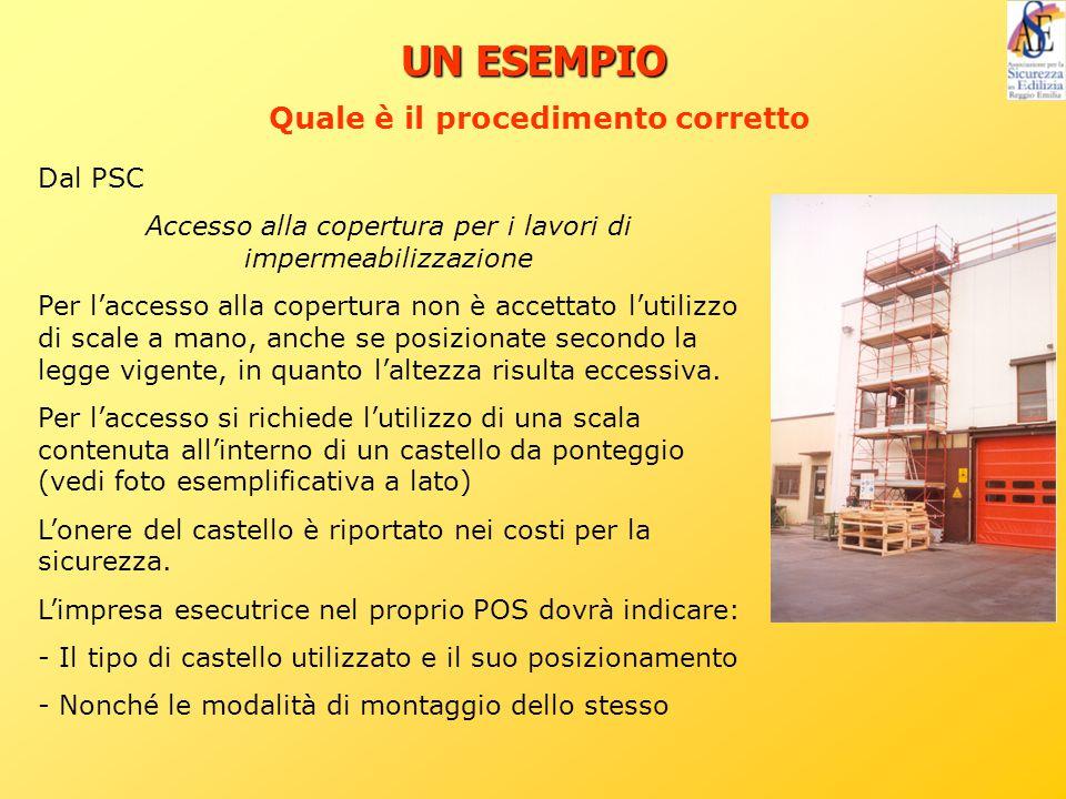 UN ESEMPIO Dal PSC Accesso alla copertura per i lavori di impermeabilizzazione Per l'accesso alla copertura non è accettato l'utilizzo di scale a mano