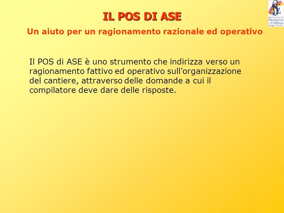 Il POS di ASE è uno strumento che indirizza verso un ragionamento fattivo ed operativo sull'organizzazione del cantiere, attraverso delle domande a cu