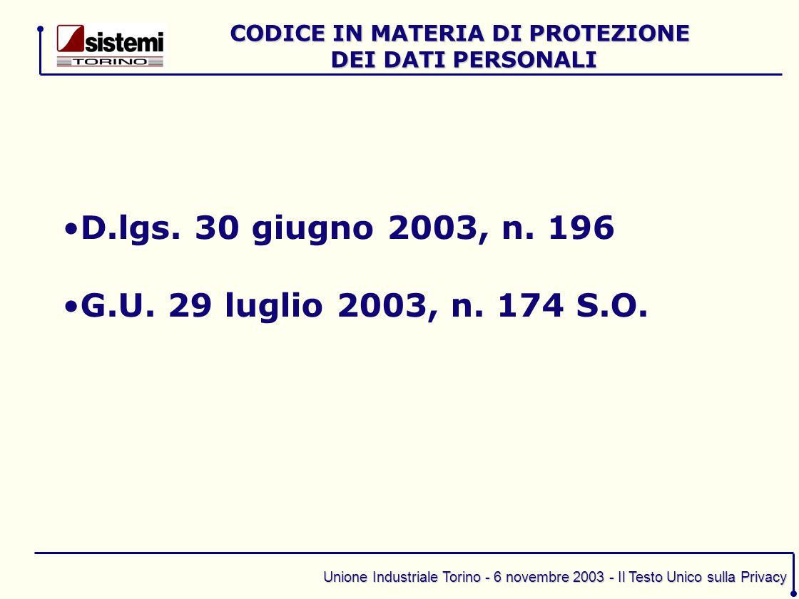 Unione Industriale Torino - 6 novembre 2003 - Il Testo Unico sulla Privacy D.lgs. 30 giugno 2003, n. 196 G.U. 29 luglio 2003, n. 174 S.O. CODICE IN MA