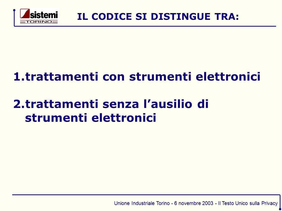 Unione Industriale Torino - 6 novembre 2003 - Il Testo Unico sulla Privacy 1.trattamenti con strumenti elettronici 2.trattamenti senza l'ausilio di st