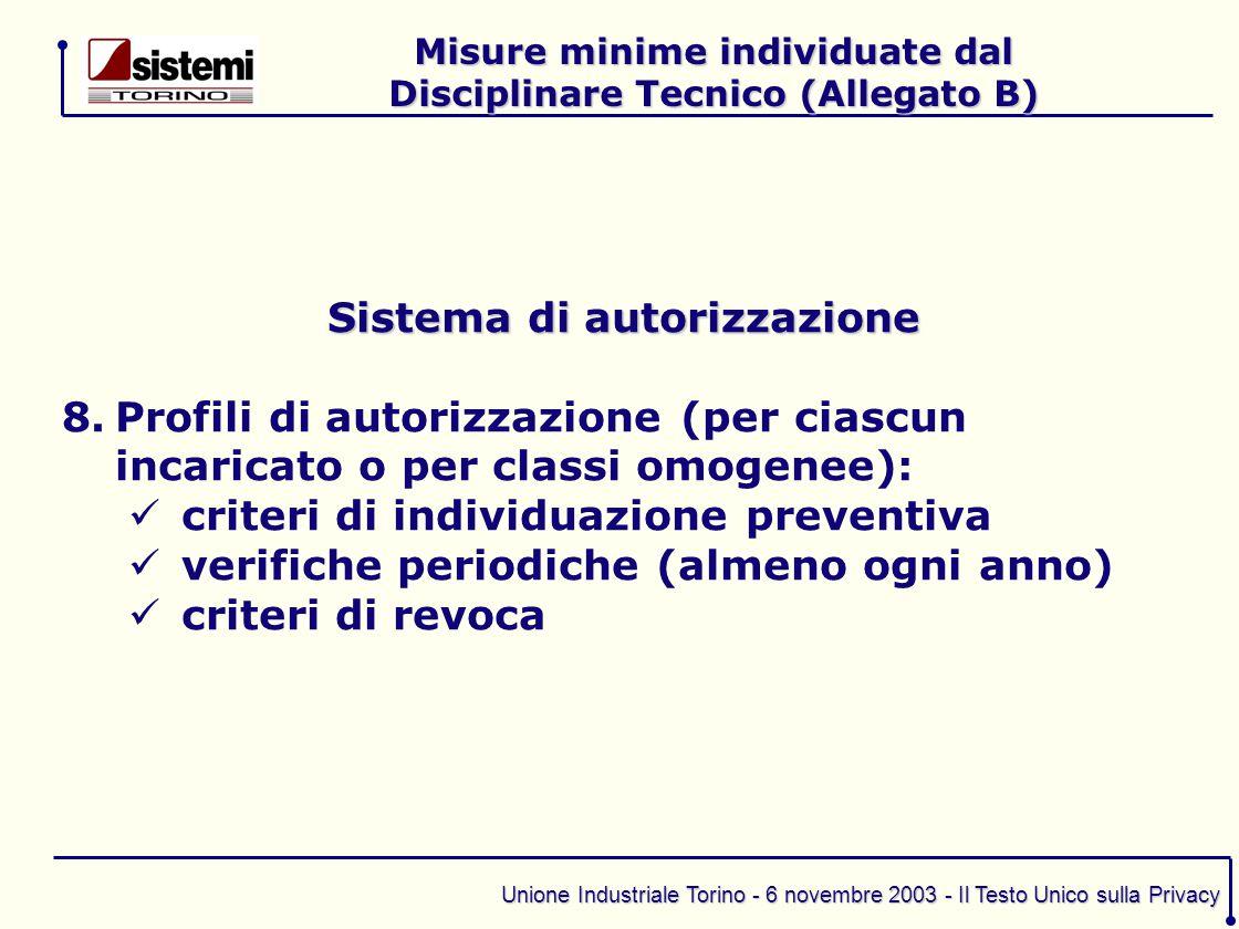 Unione Industriale Torino - 6 novembre 2003 - Il Testo Unico sulla Privacy Sistema di autorizzazione 8.Profili di autorizzazione (per ciascun incarica