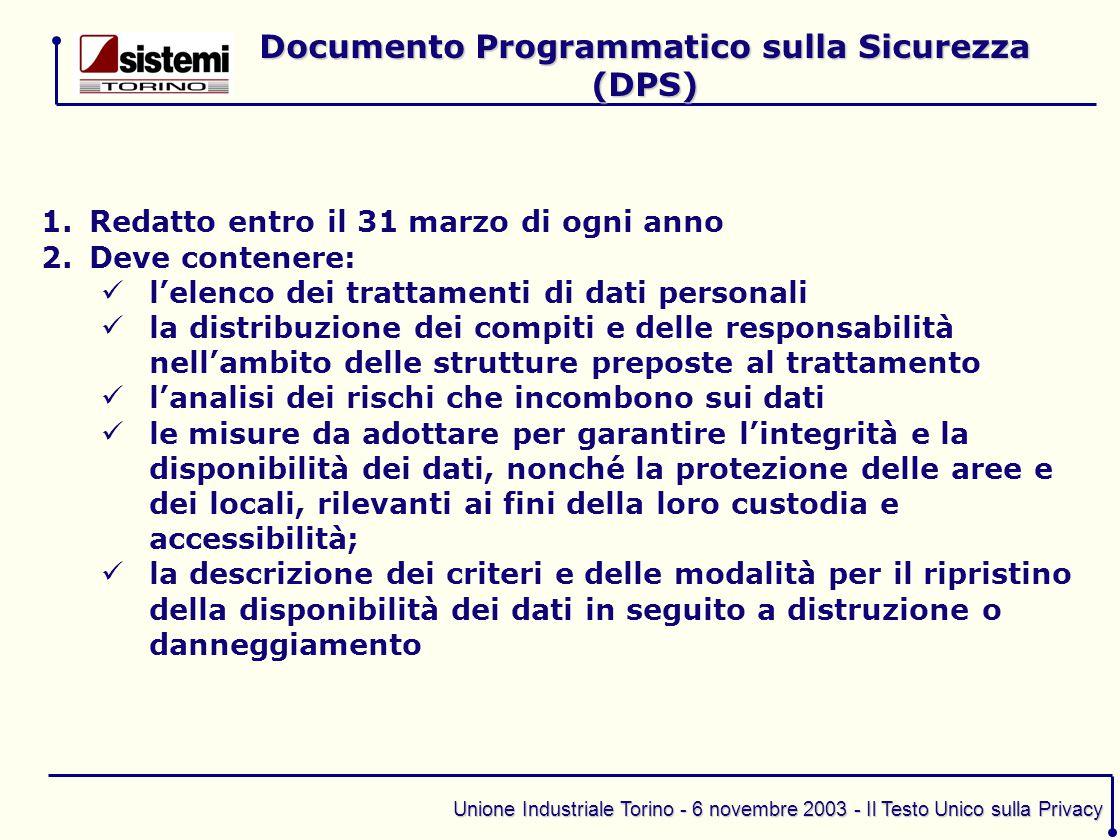 Unione Industriale Torino - 6 novembre 2003 - Il Testo Unico sulla Privacy 1.Redatto entro il 31 marzo di ogni anno 2.Deve contenere: l'elenco dei tra