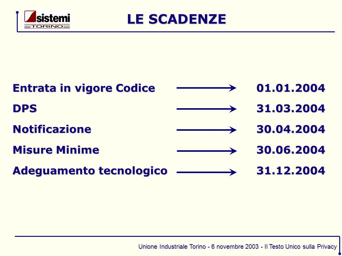 Unione Industriale Torino - 6 novembre 2003 - Il Testo Unico sulla Privacy Entrata in vigore Codice 01.01.2004 DPS31.03.2004 Notificazione30.04.2004 M