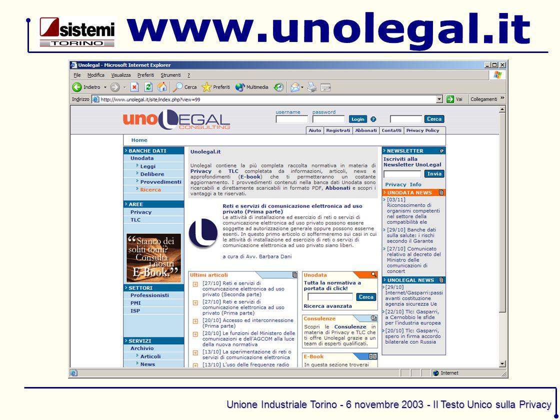Unione Industriale Torino - 6 novembre 2003 - Il Testo Unico sulla Privacy