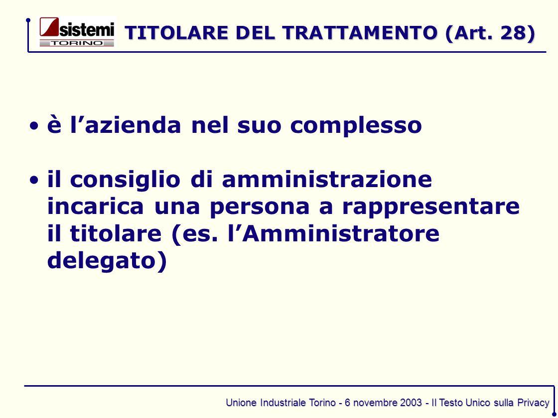 Unione Industriale Torino - 6 novembre 2003 - Il Testo Unico sulla Privacy è l'azienda nel suo complesso il consiglio di amministrazione incarica una