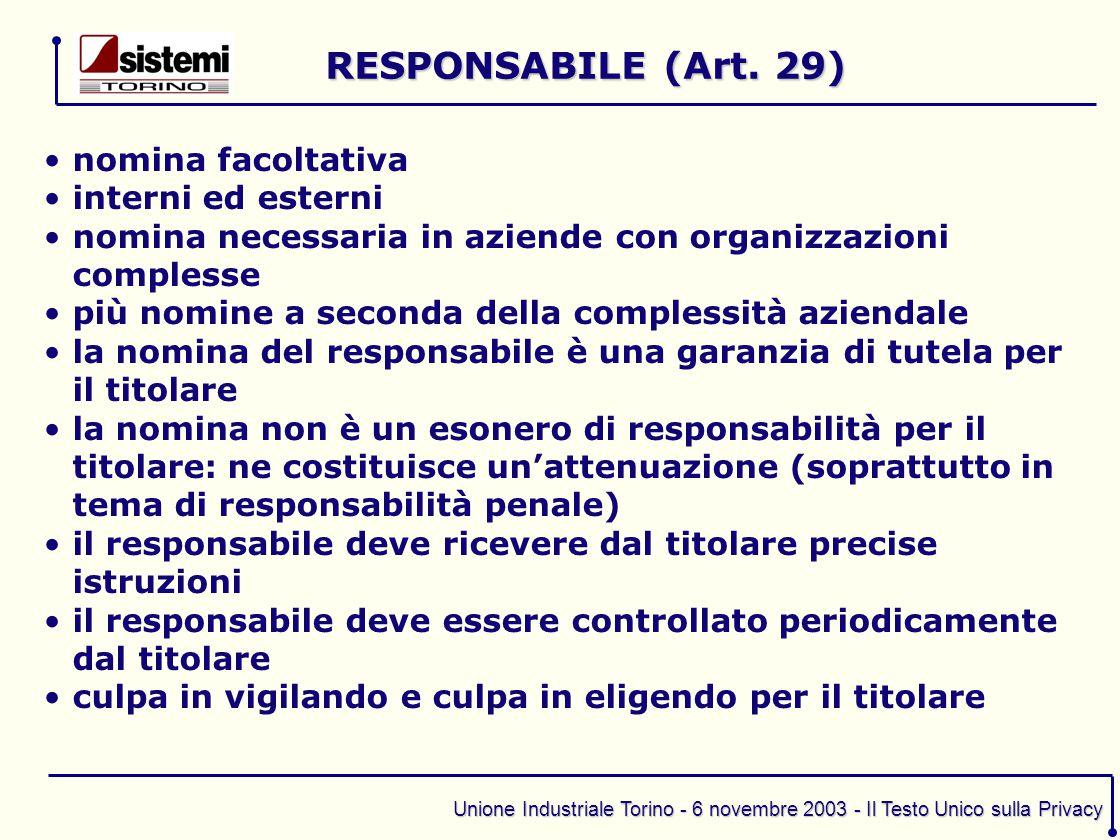 Unione Industriale Torino - 6 novembre 2003 - Il Testo Unico sulla Privacy nomina facoltativa interni ed esterni nomina necessaria in aziende con orga