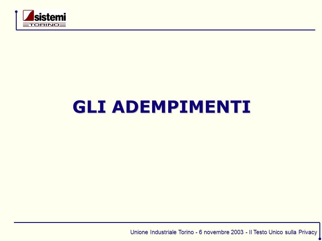Unione Industriale Torino - 6 novembre 2003 - Il Testo Unico sulla Privacy 1.trattamenti con strumenti elettronici 2.trattamenti senza l'ausilio di strumenti elettronici IL CODICE SI DISTINGUE TRA: