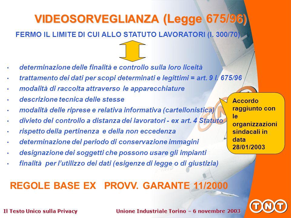 Il Testo Unico sulla Privacy Unione Industriale Torino – 6 novembre 2003 VIDEOSORVEGLIANZA (Legge 675/96) determinazione delle finalità e controllo sulla loro liceità trattamento dei dati per scopi determinati e legittimi = art.