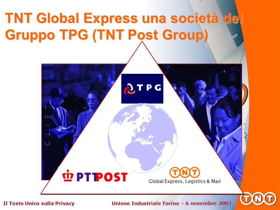 Il Testo Unico sulla Privacy Unione Industriale Torino – 6 novembre 2003 C L I E T I Global Express, Logistics & Mail TNT Global Express una società del Gruppo TPG (TNT Post Group)