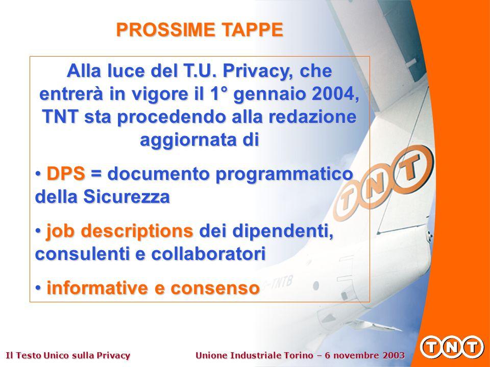 Il Testo Unico sulla Privacy Unione Industriale Torino – 6 novembre 2003 PROSSIME TAPPE Alla luce del T.U.