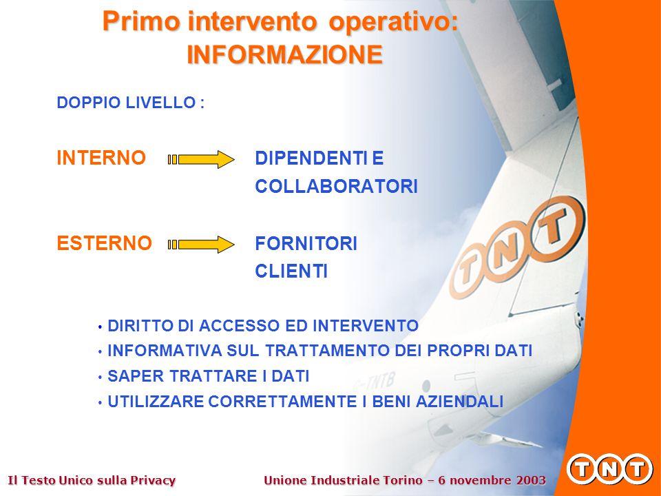 Il Testo Unico sulla Privacy Unione Industriale Torino – 6 novembre 2003 Primo intervento operativo: INFORMAZIONE DOPPIO LIVELLO : INTERNO DIPENDENTI E COLLABORATORI ESTERNO FORNITORI CLIENTI DIRITTO DI ACCESSO ED INTERVENTO INFORMATIVA SUL TRATTAMENTO DEI PROPRI DATI SAPER TRATTARE I DATI UTILIZZARE CORRETTAMENTE I BENI AZIENDALI
