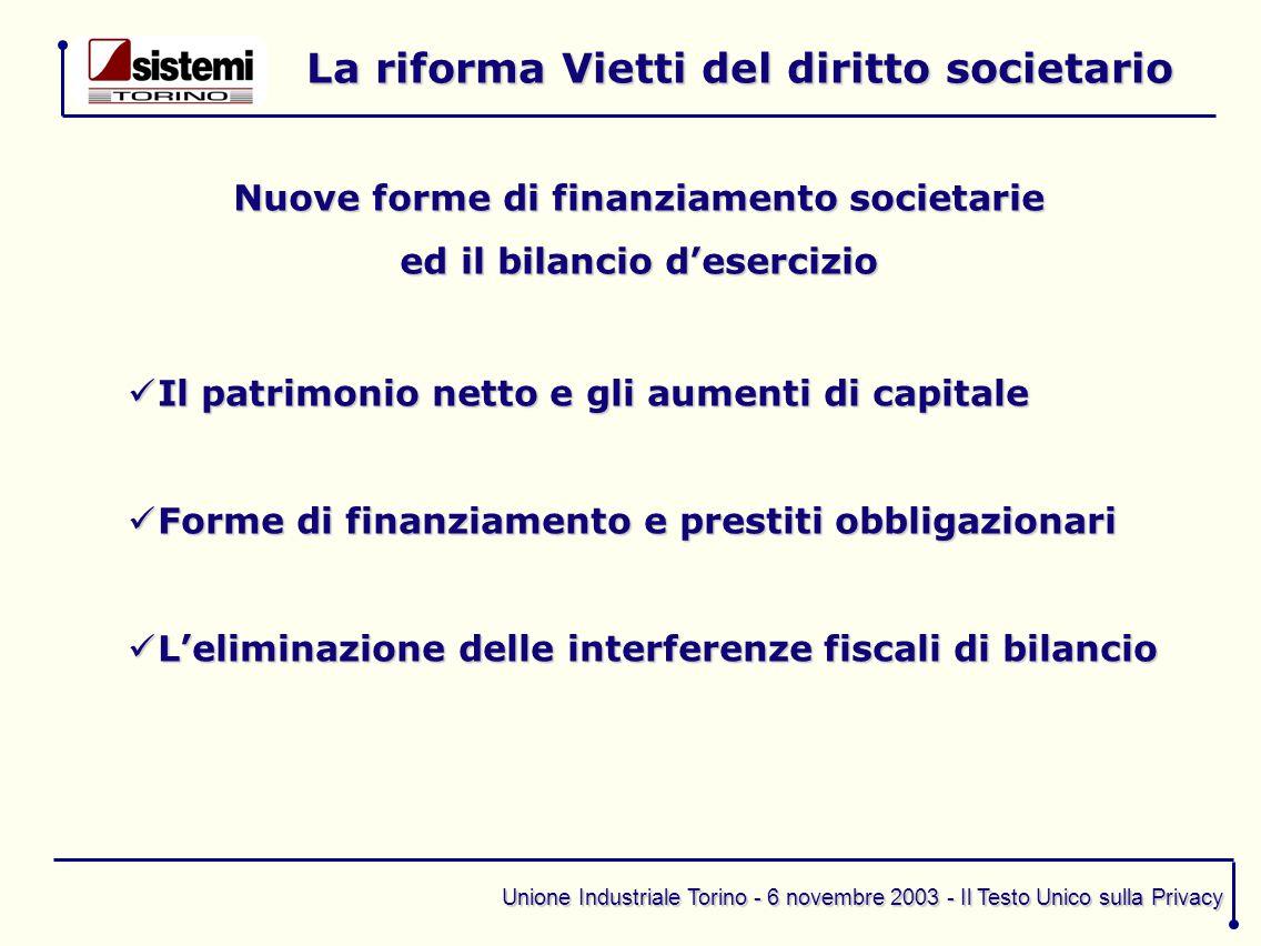 Unione Industriale Torino - 6 novembre 2003 - Il Testo Unico sulla Privacy La riforma Vietti del diritto societario Nuove forme di finanziamento socie