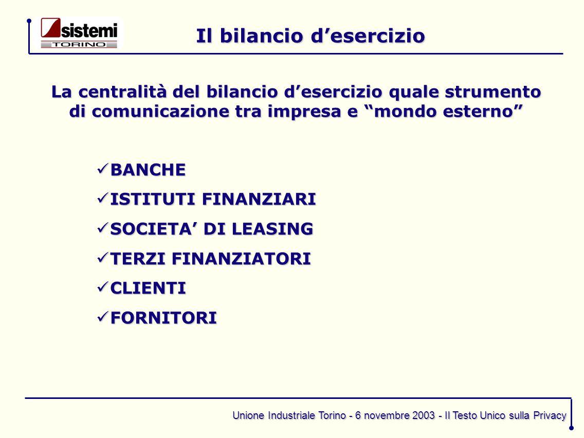 Unione Industriale Torino - 6 novembre 2003 - Il Testo Unico sulla Privacy Il bilancio d'esercizio La centralità del bilancio d'esercizio quale strume