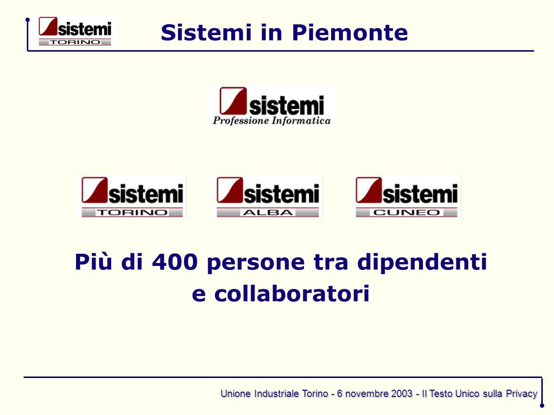 Unione Industriale Torino - 6 novembre 2003 - Il Testo Unico sulla Privacy I principi che guidano le nostre attività