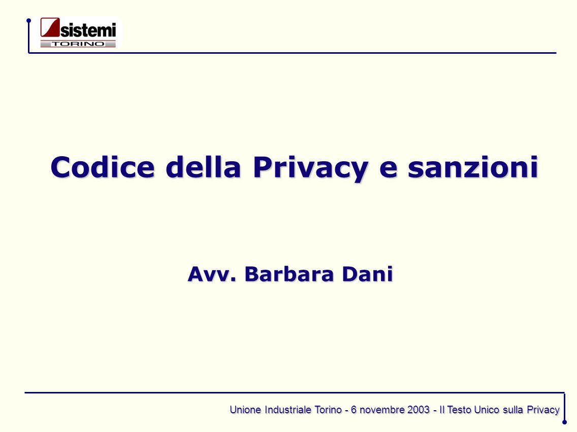 Unione Industriale Torino - 6 novembre 2003 - Il Testo Unico sulla Privacy Codice della Privacy e sanzioni Avv. Barbara Dani