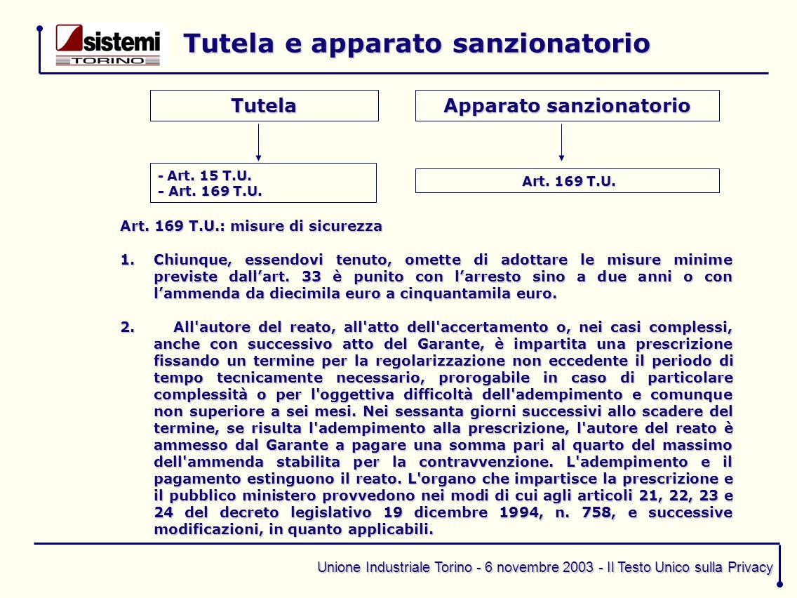 Unione Industriale Torino - 6 novembre 2003 - Il Testo Unico sulla Privacy Tutela e apparato sanzionatorio Tutela - Art. 15 T.U. - Art. 169 T.U. Appar