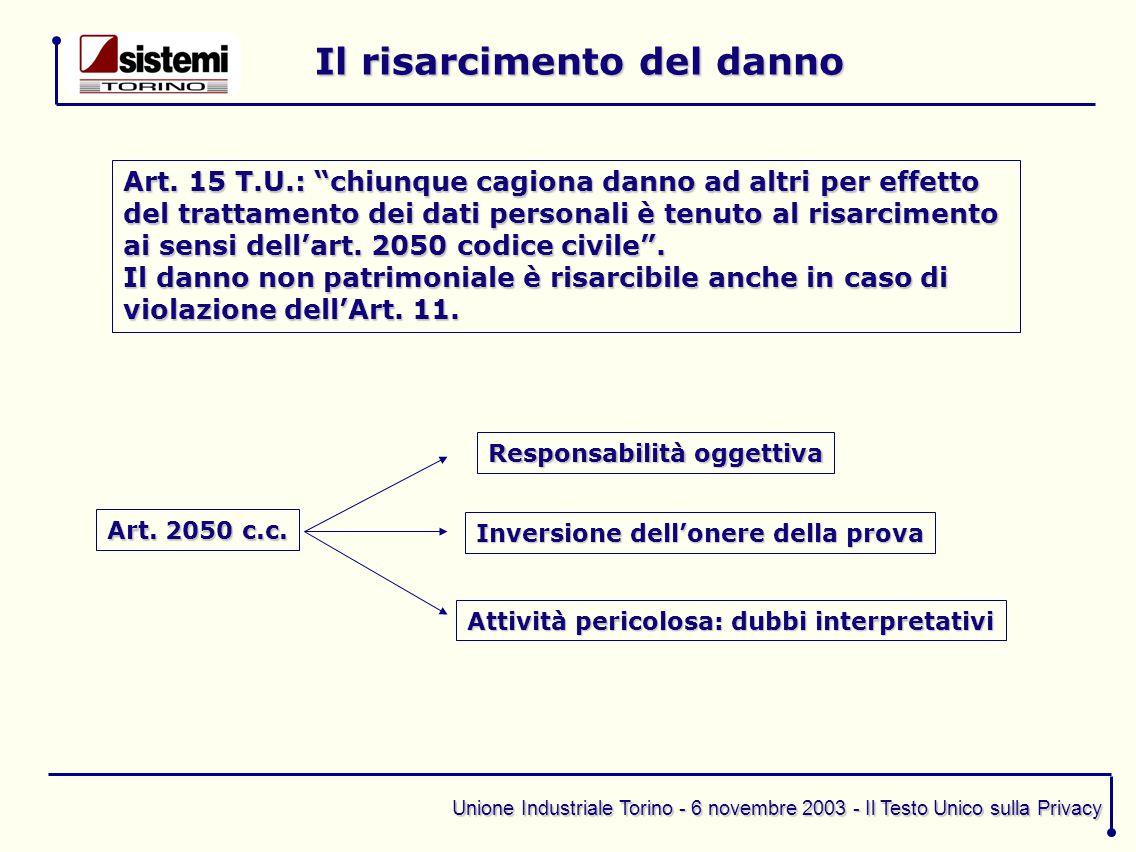 """Unione Industriale Torino - 6 novembre 2003 - Il Testo Unico sulla Privacy Il risarcimento del danno Art. 15 T.U.: """"chiunque cagiona danno ad altri pe"""