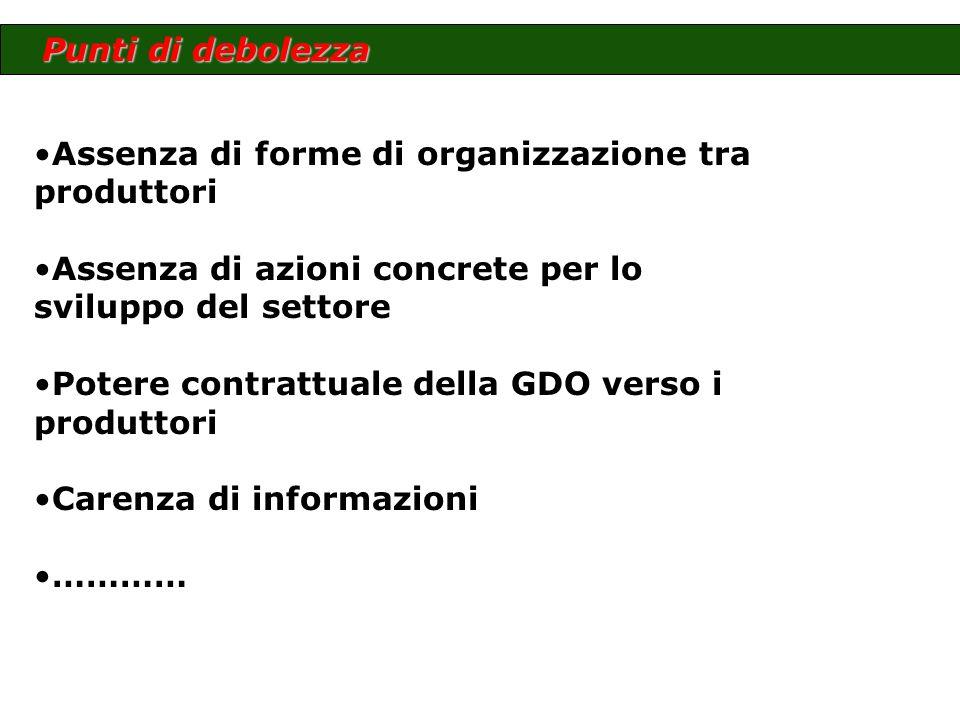 Assenza di forme di organizzazione tra produttori Assenza di azioni concrete per lo sviluppo del settore Potere contrattuale della GDO verso i produtt