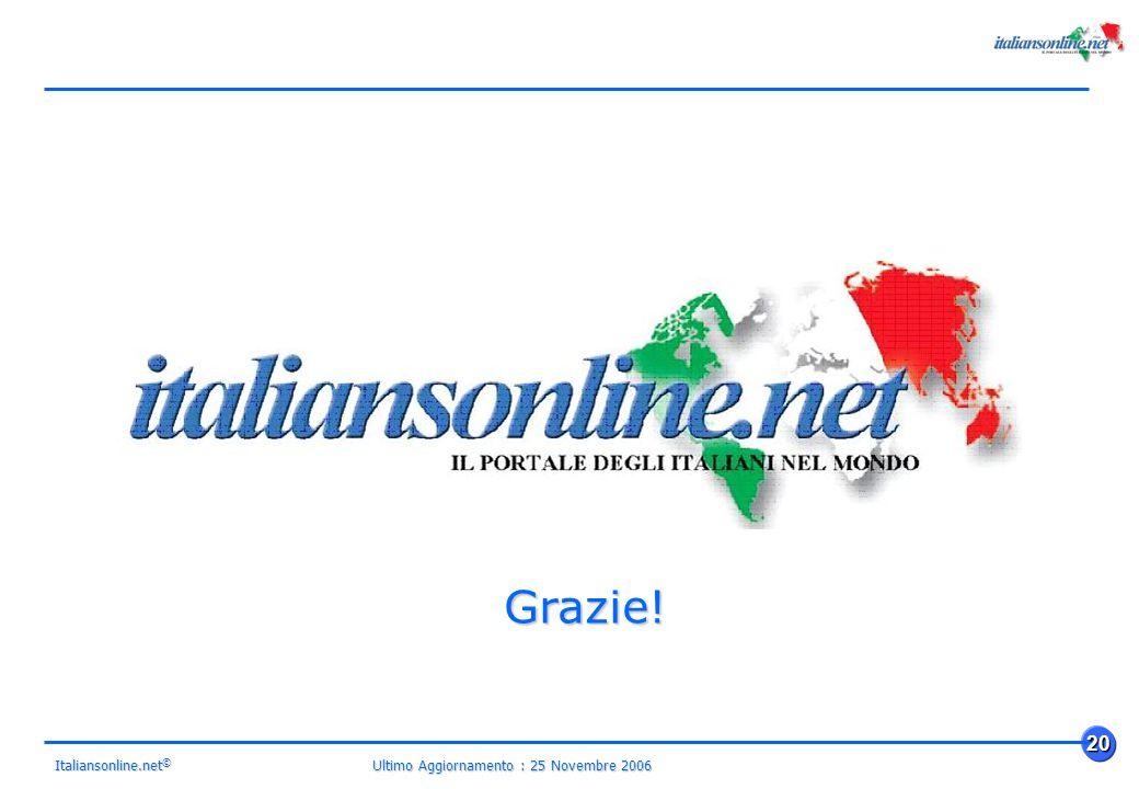 Ultimo Aggiornamento : 25 Novembre 2006 20 Italiansonline.net © Grazie!