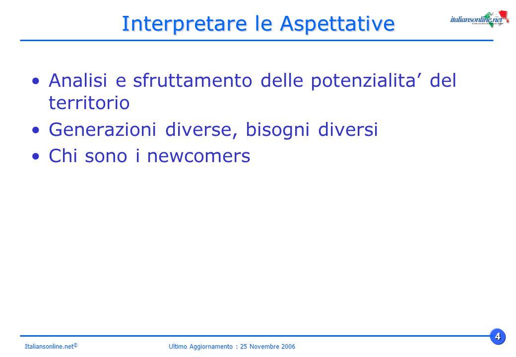 Ultimo Aggiornamento : 25 Novembre 2006 4 Italiansonline.net © Interpretare le Aspettative Analisi e sfruttamento delle potenzialita' del territorio Generazioni diverse, bisogni diversi Chi sono i newcomers