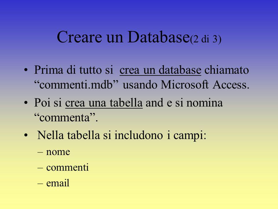 Connessione a Database (1 di 3) Ci si può connettere in due modi ad un database: –DSN connection (DSN sta per Data Source Name – questo metodo può essere utilizzato quando si ha una configurazione del server per pagine web via ODBC) –DSN-less connection (questo è il metodo piu semplice per connettersi al proprio database – non necessità nessun tipo di configurazione particolare del computer) Di seguito viene visualizzato il codice necessario per ottenere una connessione DSN-less ad un database.